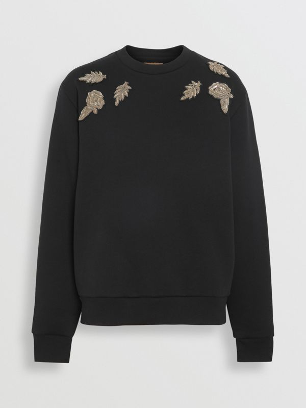 Bullion Floral Cotton Blend Sweatshirt in Black - Women | Burberry - cell image 3