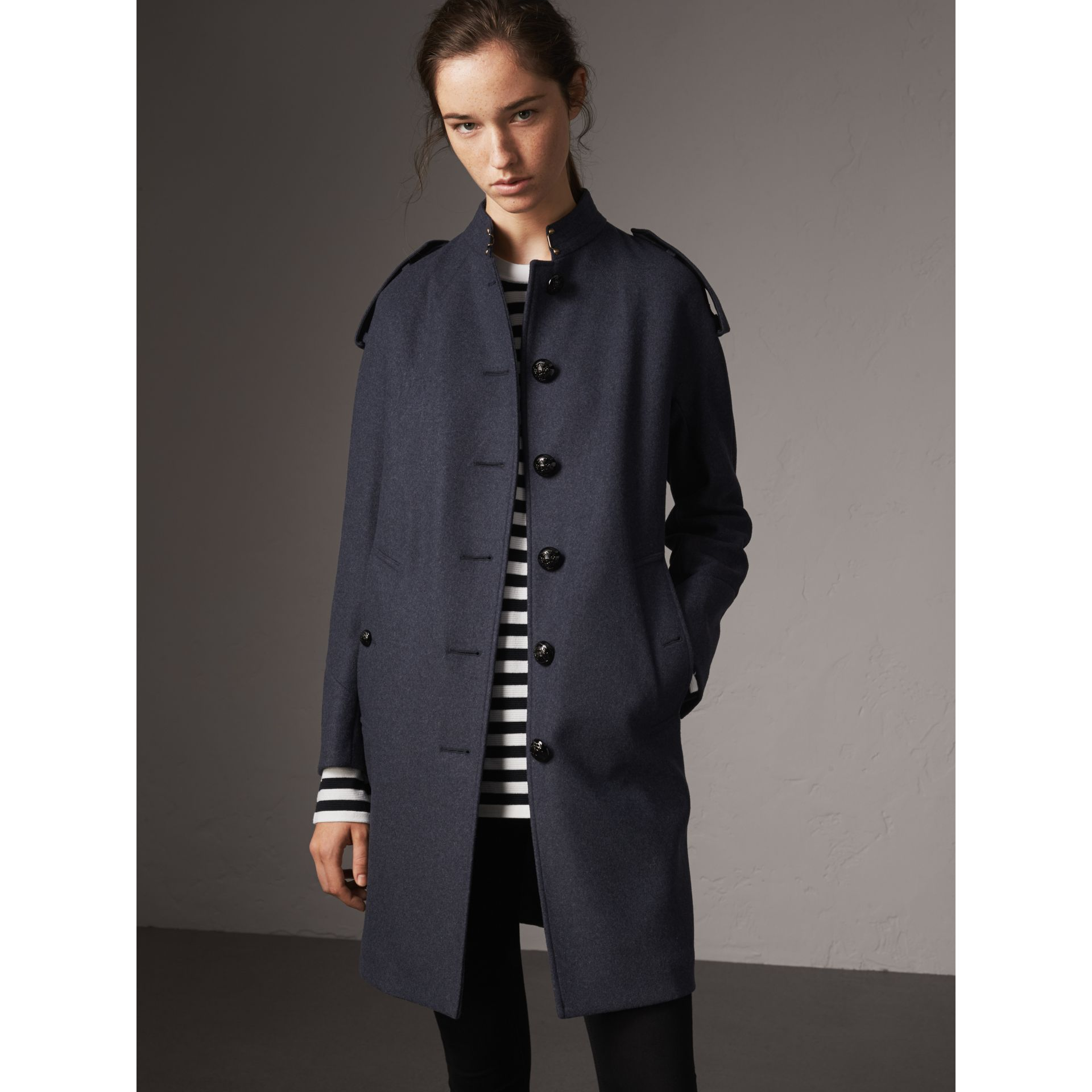 Collarless Wool Blend Coat in Storm Blue Melange - Women | Burberry Australia - gallery image 6