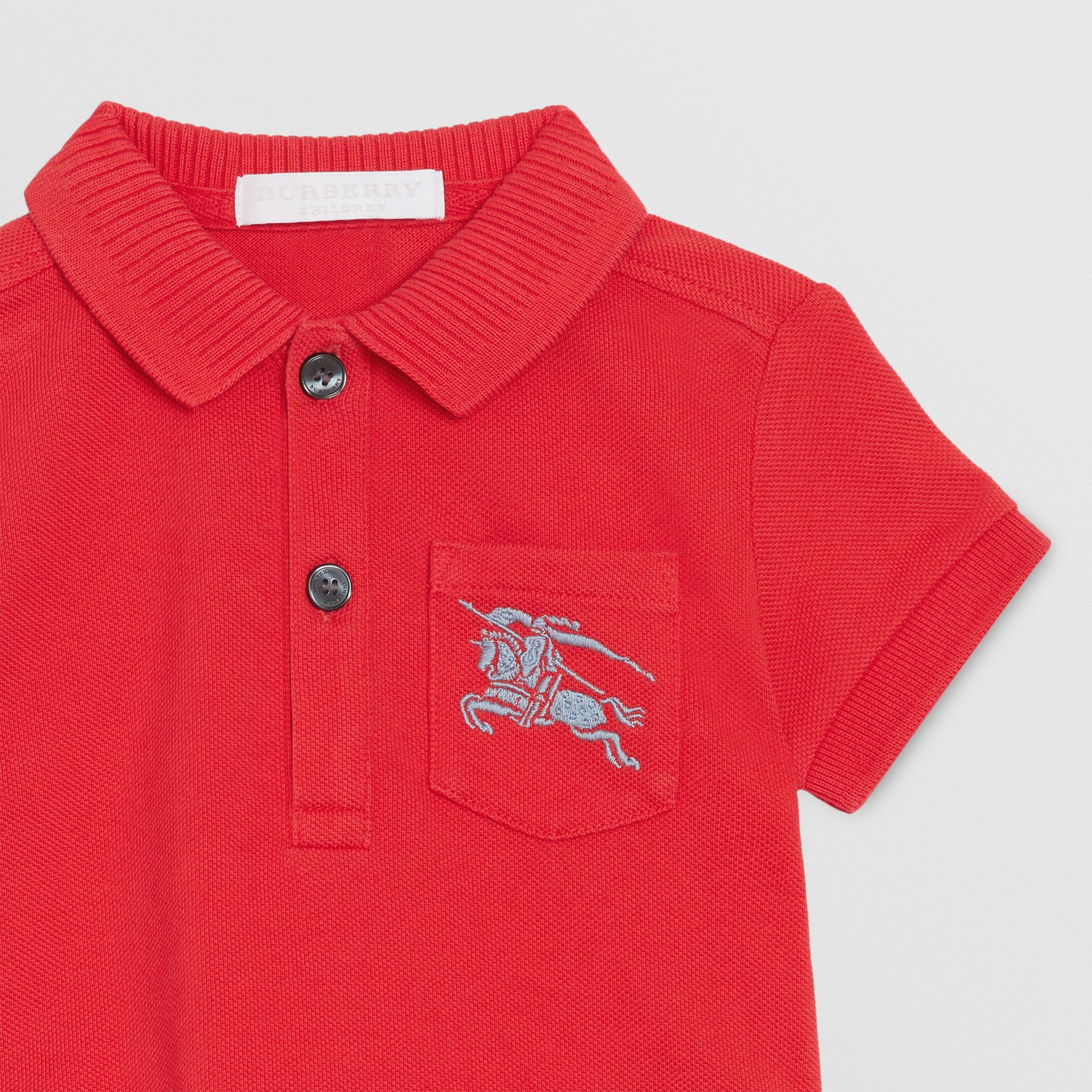 EKD Logo Cotton Piqué Polo Shirt in Bright Red - Children | Burberry - gallery image 4