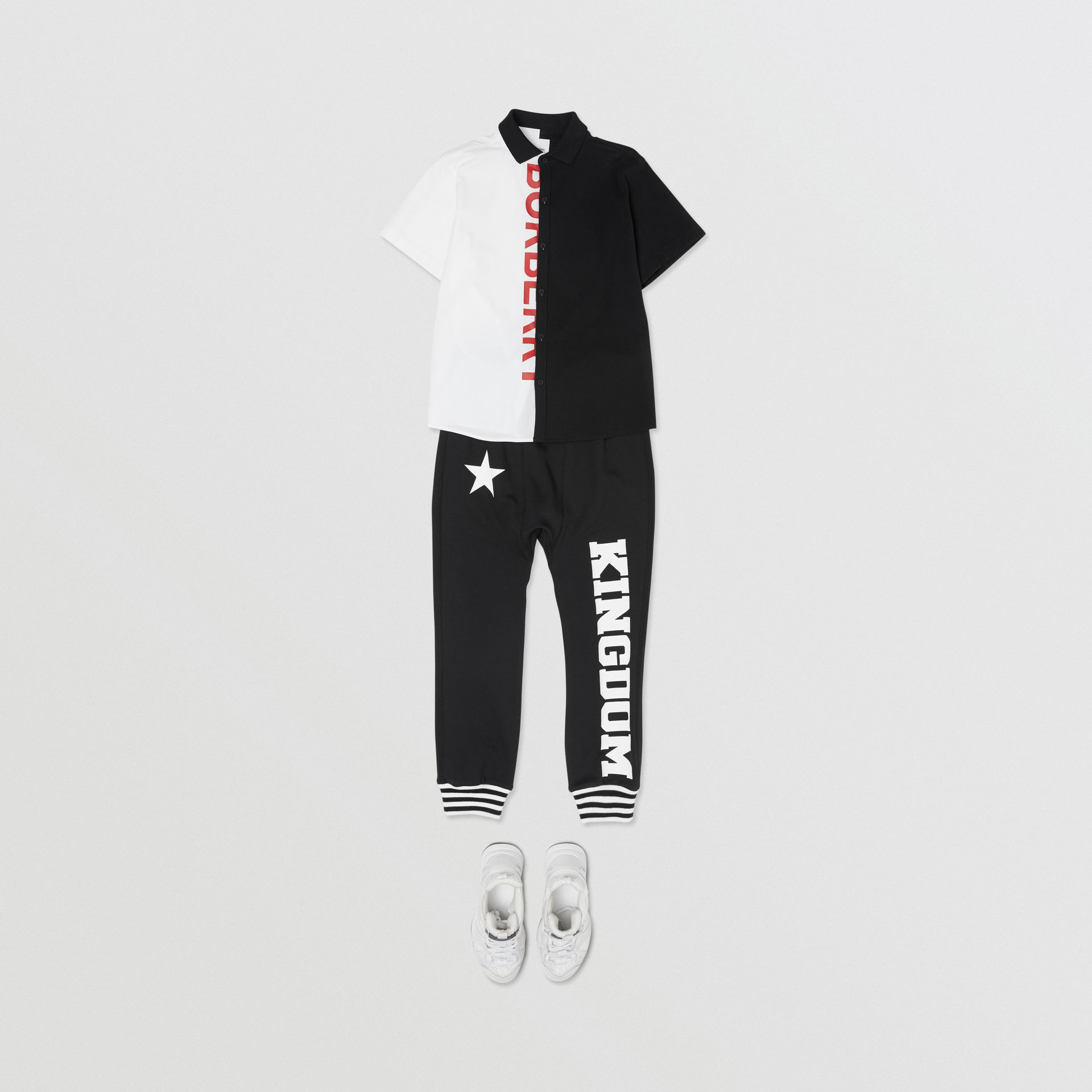 Kingdom and Star Print Cotton Trackpants in Black   Burberry Australia - gallery image 2
