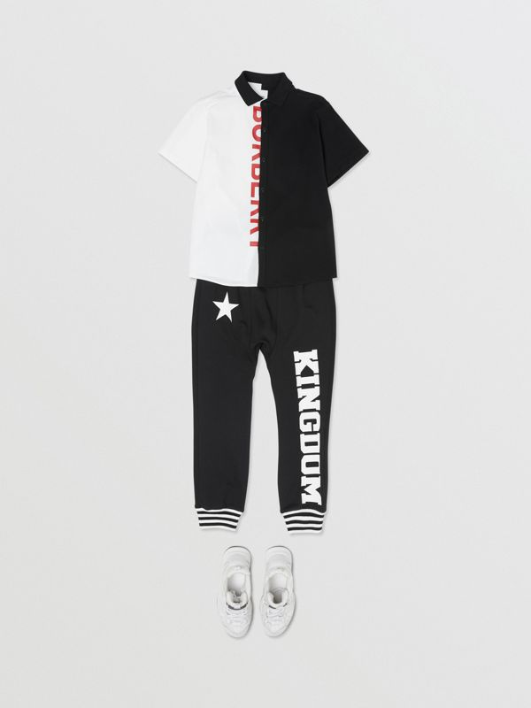 Kingdom and Star Print Cotton Trackpants in Black   Burberry Australia - cell image 2