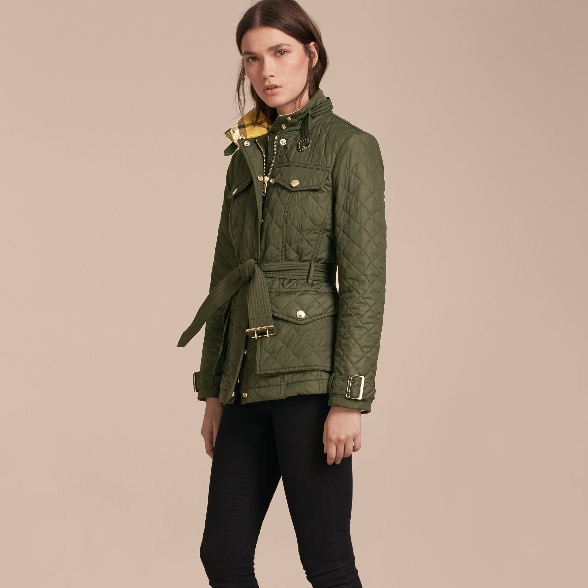 Buckle Detail Technical Field Jacket in Military Green - gallery image 7