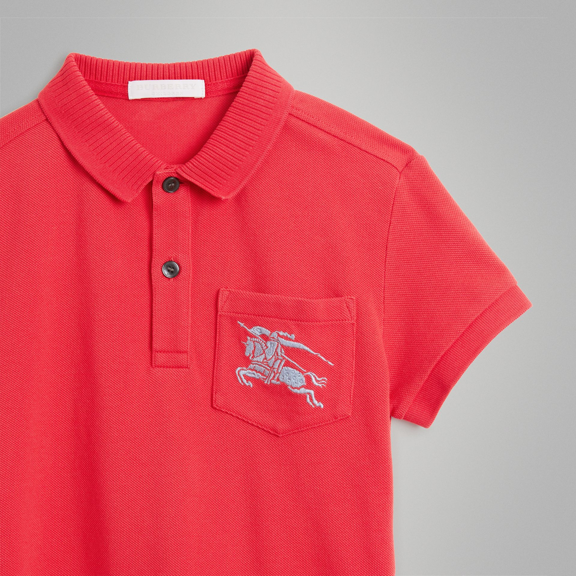 EKD Logo Cotton Piqué Polo Shirt in Bright Red | Burberry Australia - gallery image 4
