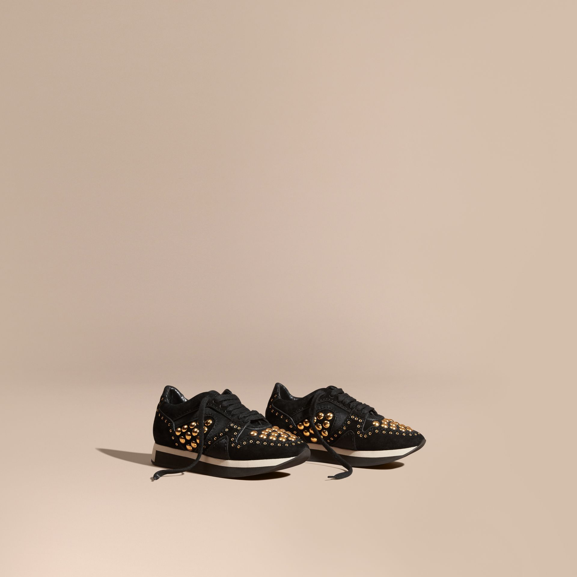 Black The Field Sneaker in Studded Suede Black - gallery image 1