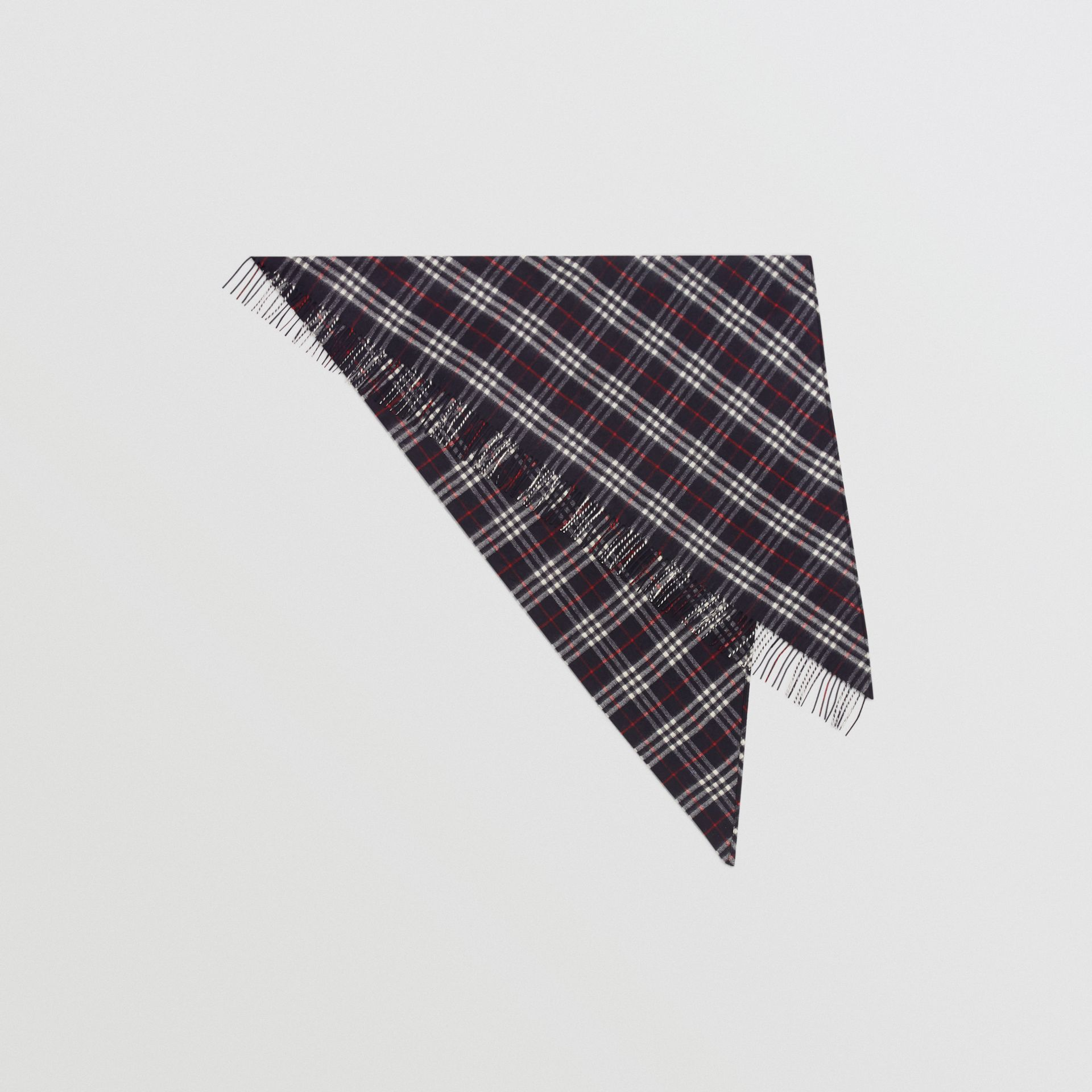 The Burberry Bandana in cashmere con motivo tartan (Navy) | Burberry - immagine della galleria 0