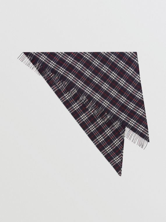 The Burberry Bandana in cashmere con motivo tartan (Navy)