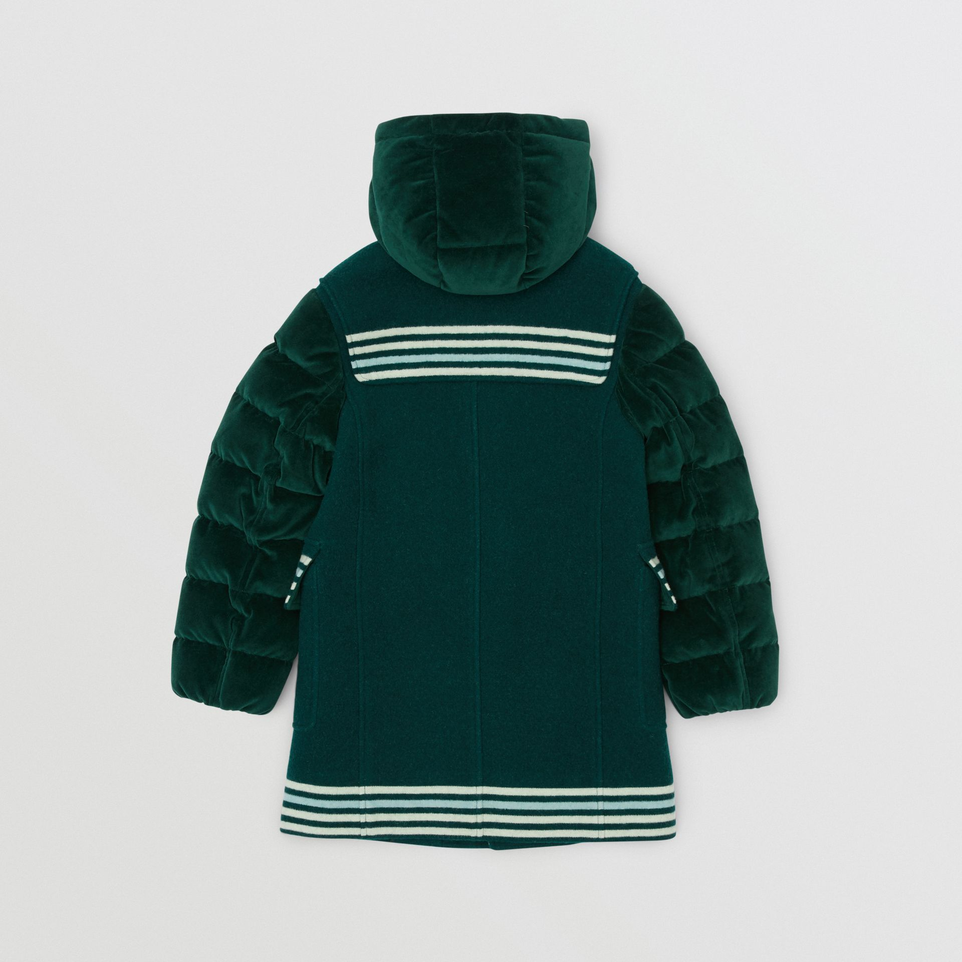 Velvet Puffer Detail Wool Duffle Coat in Dark Pine Green | Burberry - gallery image 3