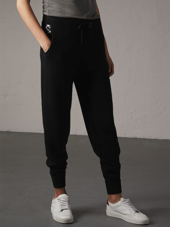Check Detail Wool Cashmere Sweatpants