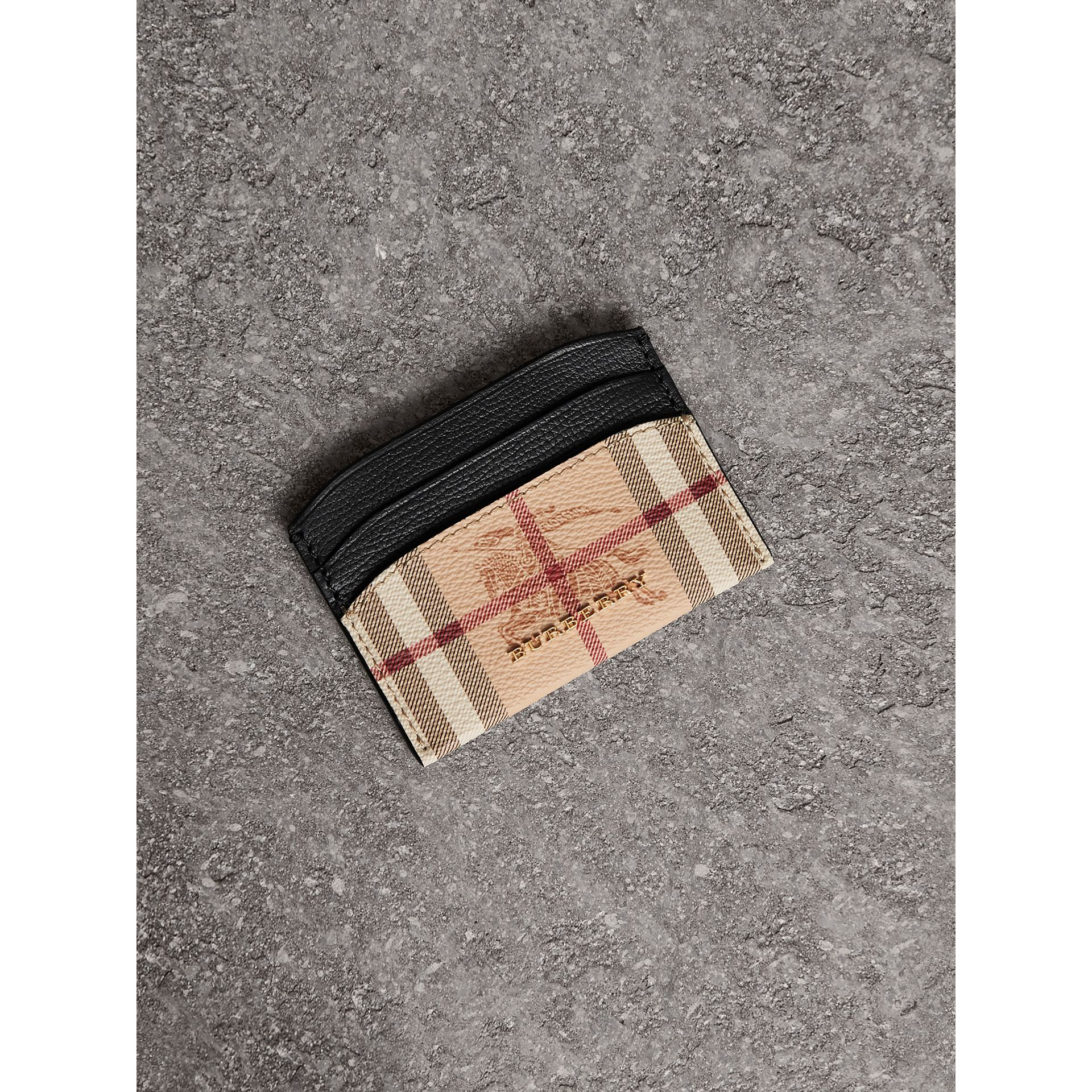 Haymarket Check and Leather Card Case in Black - Women | Burberry - gallery image 0