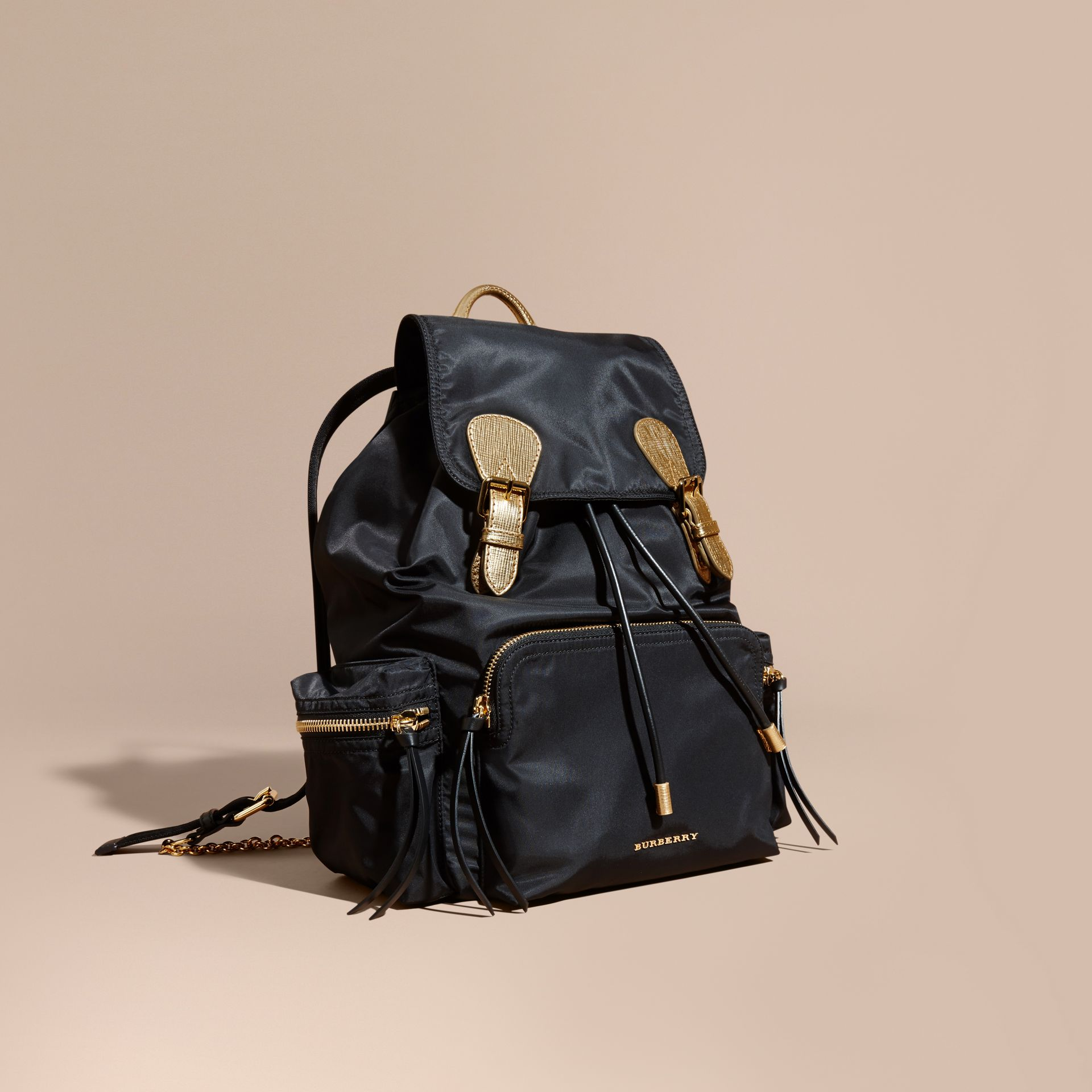 Black/gold The Large Rucksack in Two-tone Nylon and Leather - gallery image 1