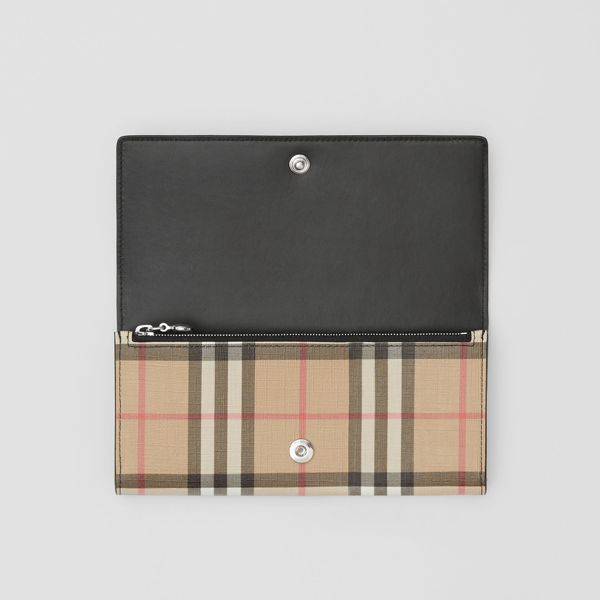Logo Graphic Vintage Check E-canvas Continental Wallet in Archive Beige - Women | Burberry - gallery image 2