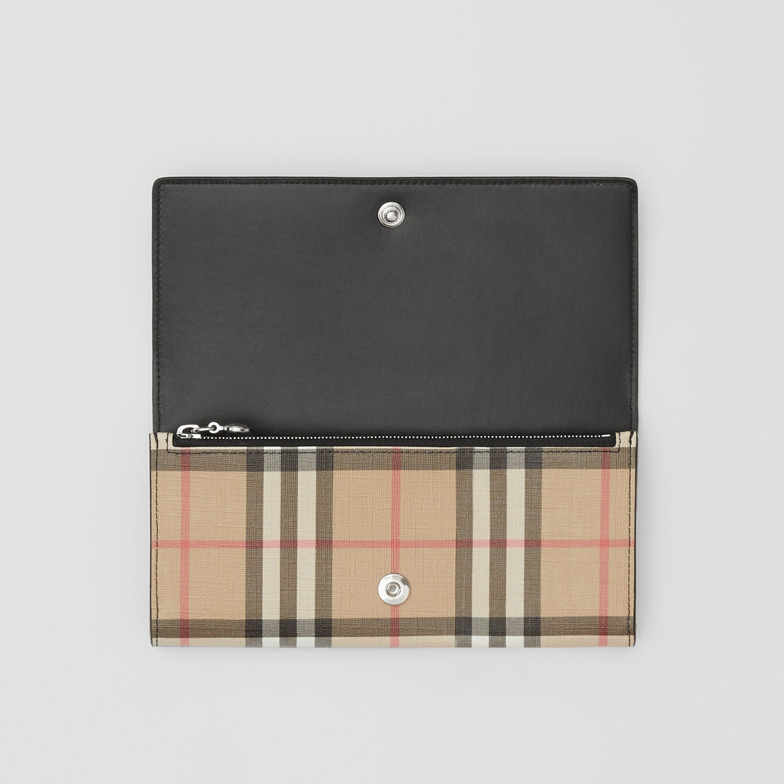 Logo Graphic Vintage Check E-canvas Continental Wallet in Archive Beige - Women | Burberry - 3
