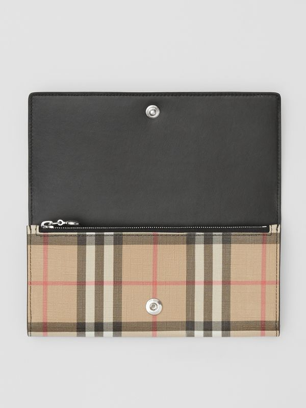 Logo Graphic Vintage Check E-canvas Continental Wallet in Archive Beige - Women | Burberry - cell image 2