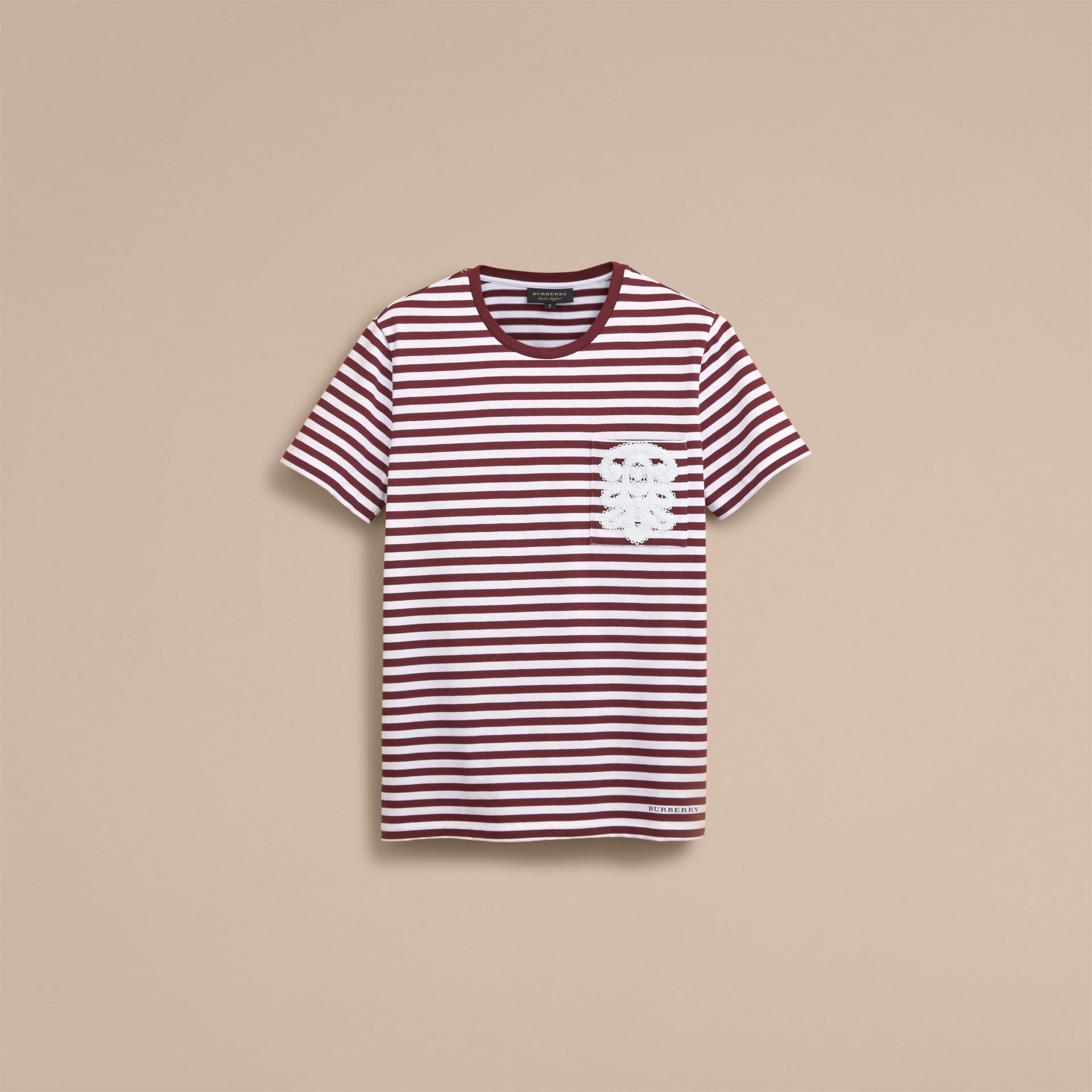Lace Appliqué Detail Breton Stripe Cotton T-shirt in Burgundy/white - Men | Burberry Canada - gallery image 4