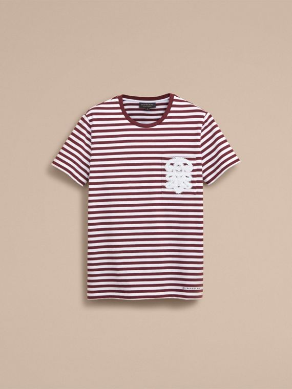 Lace Appliqué Detail Breton Stripe Cotton T-shirt in Burgundy/white - Men | Burberry - cell image 3