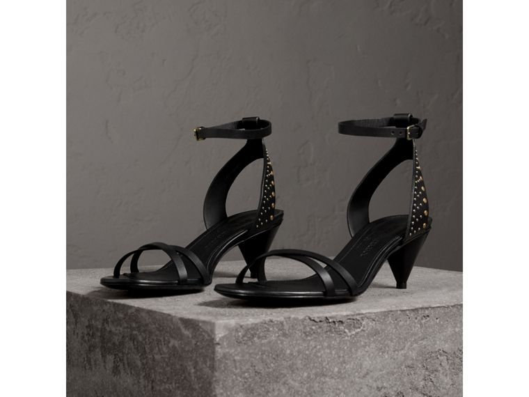 Riveted Leather Cone-heel Sandals in Black - Women | Burberry Singapore - cell image 4