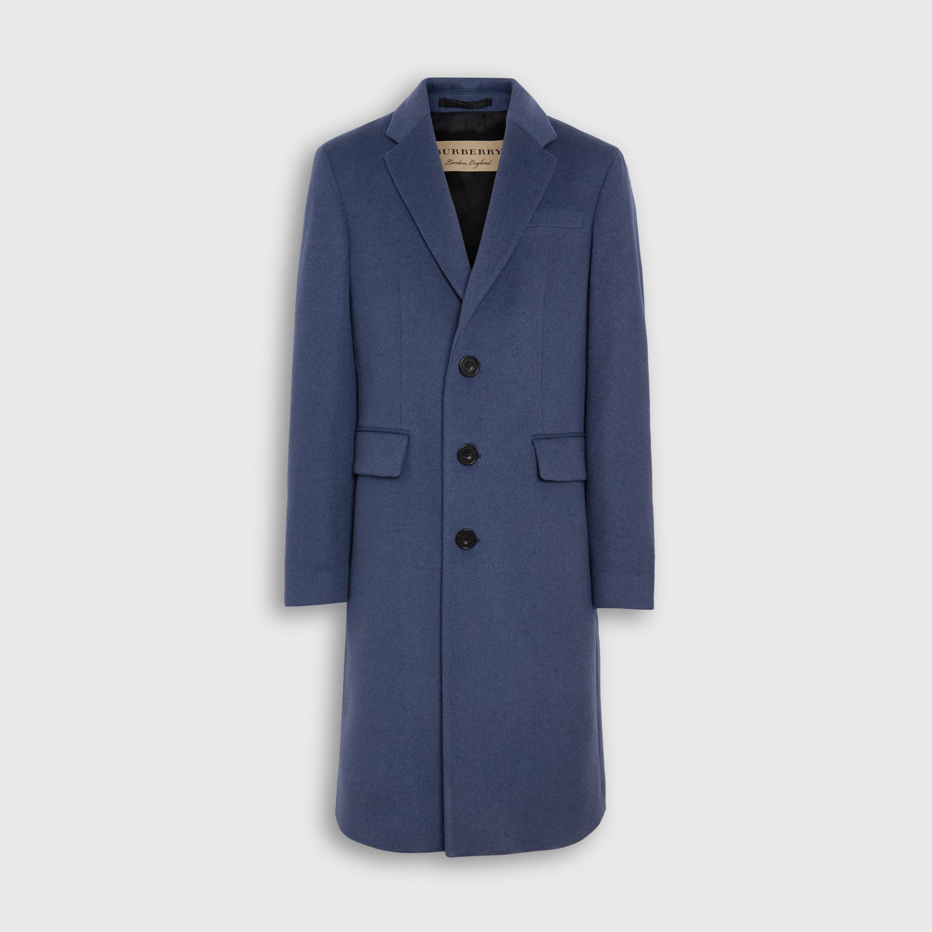 Wool Cashmere Tailored Coat in Dark Canvas Blue - Men | Burberry United Kingdom - gallery image 3