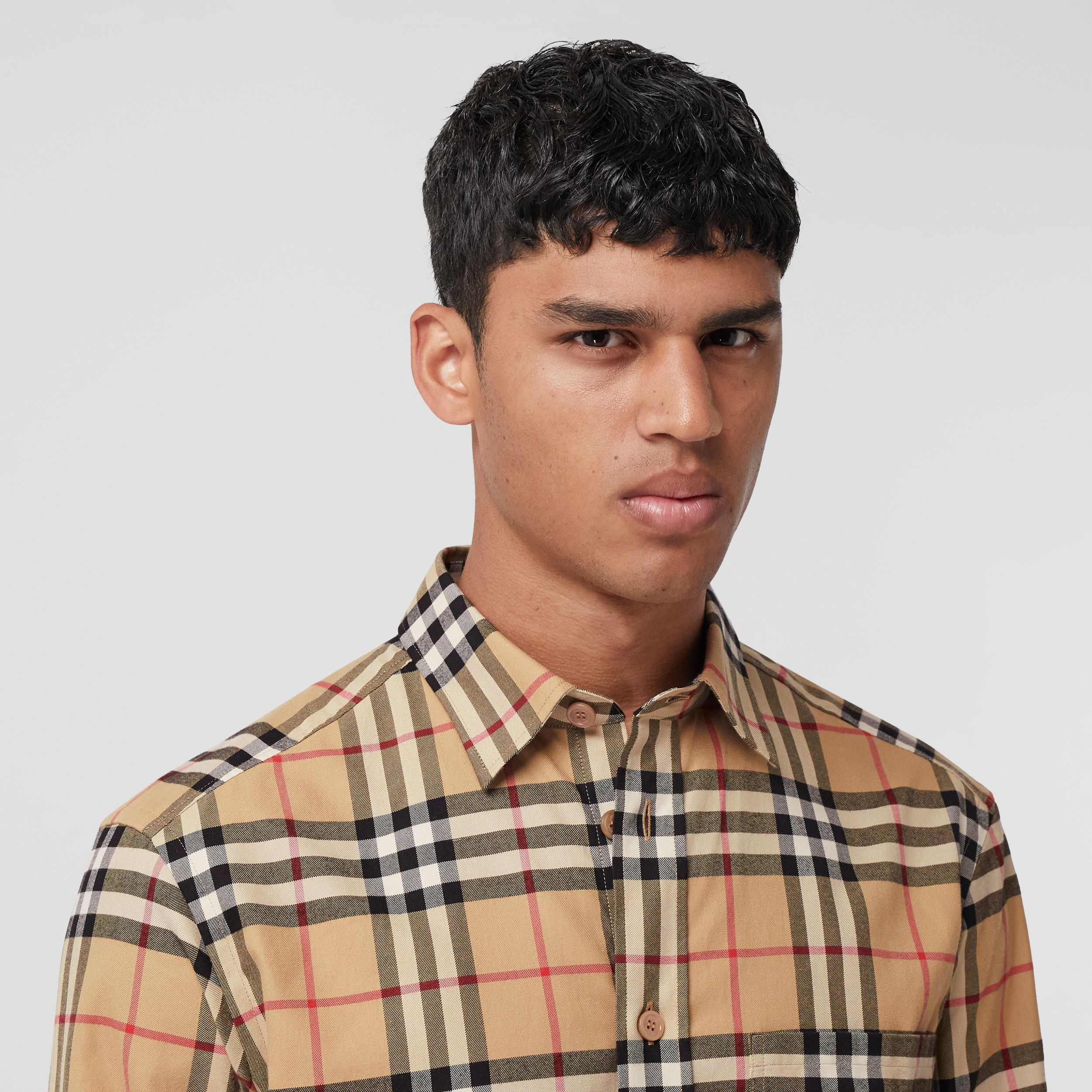 Vintage Check Cotton Flannel Shirt in Archive Beige - Men | Burberry - 2
