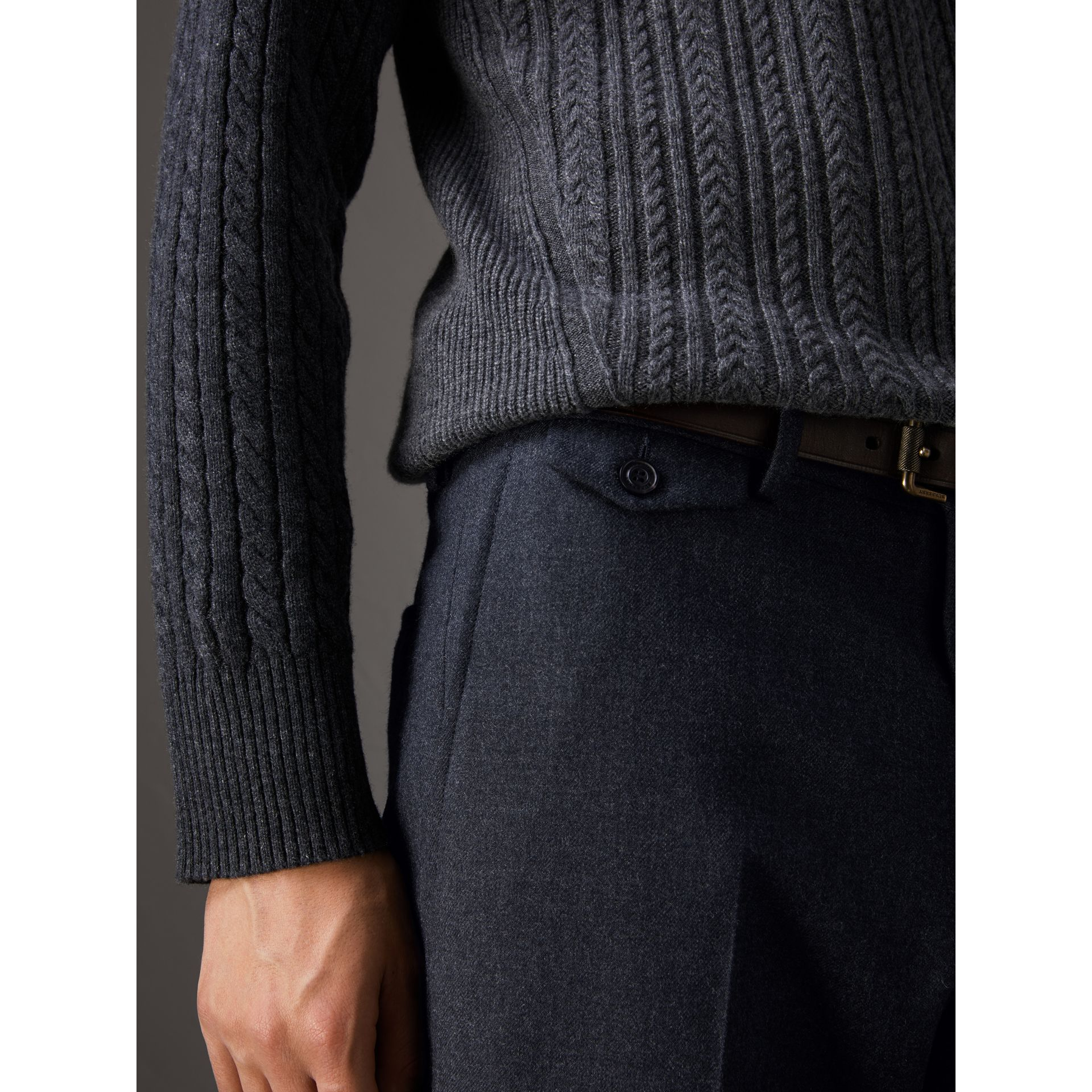 Wool Tailored Trousers in Navy - Men | Burberry - gallery image 1