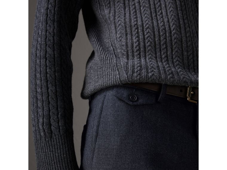 Wool Tailored Trousers in Navy - Men | Burberry United States - cell image 1