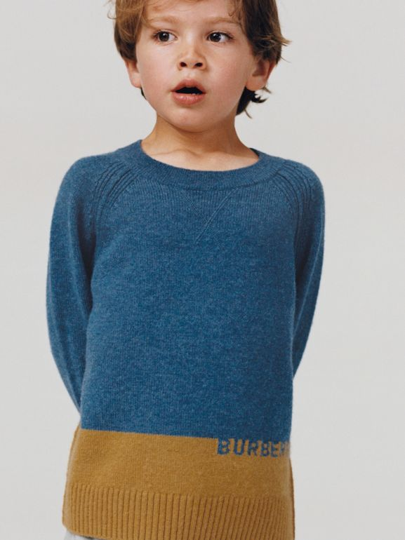 Logo Intarsia Cashmere Sweater in Dusty Blue Melange | Burberry Singapore - cell image 1