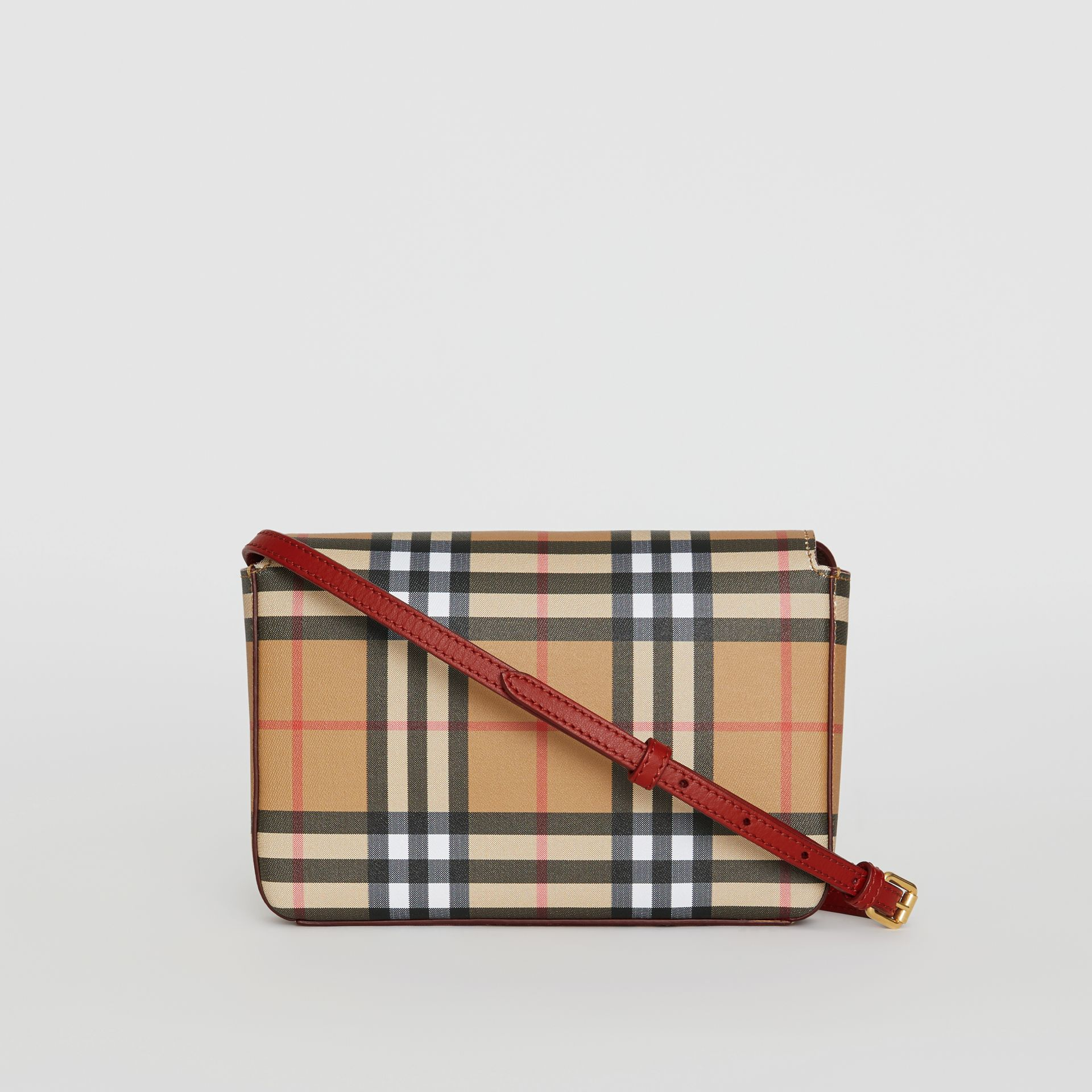 Small Vintage Check and Leather Crossbody Bag in Crimson - Women | Burberry - gallery image 7