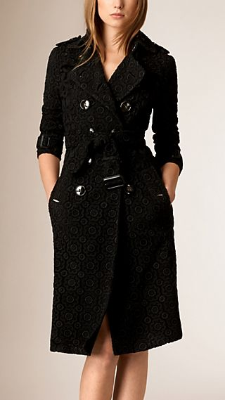 Swiss-Woven Lace Trench Coat