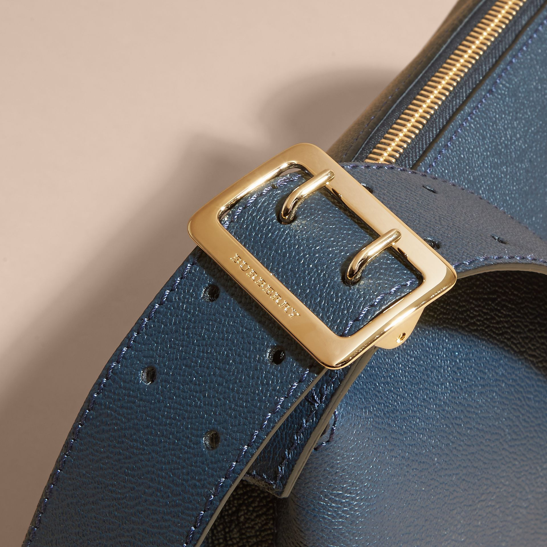 Buckle Detail Leather Crossbody Bag in Blue Carbon - gallery image 2