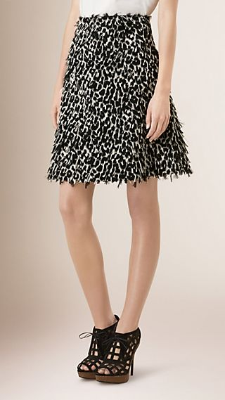 Animal Print Fil Coupé Skirt
