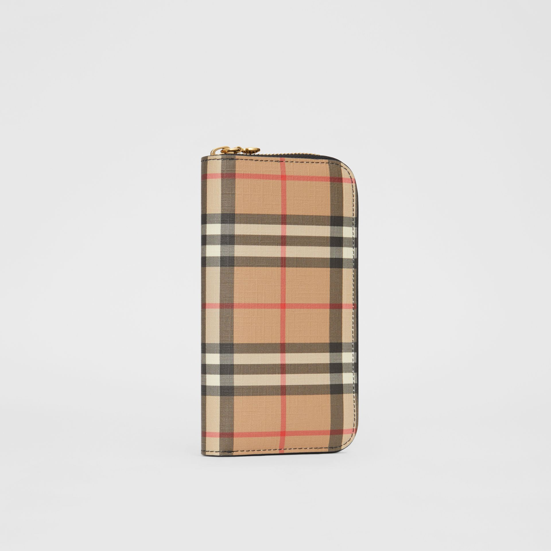 Vintage Check and Leather Ziparound Wallet in Black - Women | Burberry Canada - gallery image 3