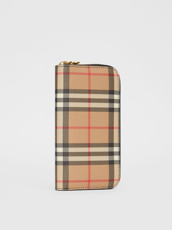 Vintage Check and Leather Ziparound Wallet in Black - Women | Burberry United Kingdom - cell image 3