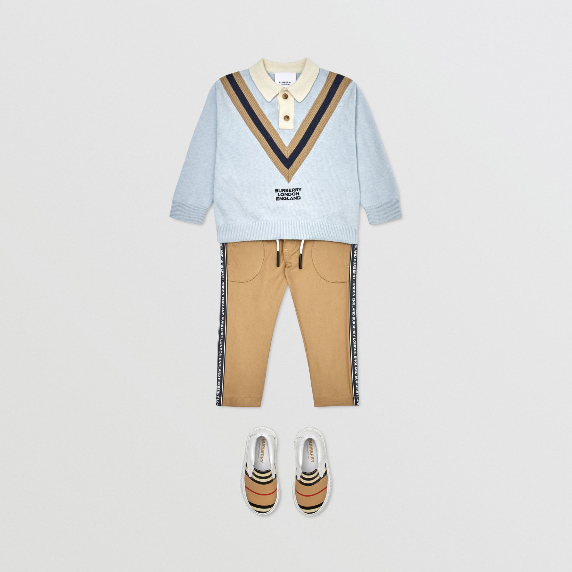 Long-sleeve Knit Cashmere Cotton Polo Shirt in Light Blue - Children | Burberry United States - gallery image 2