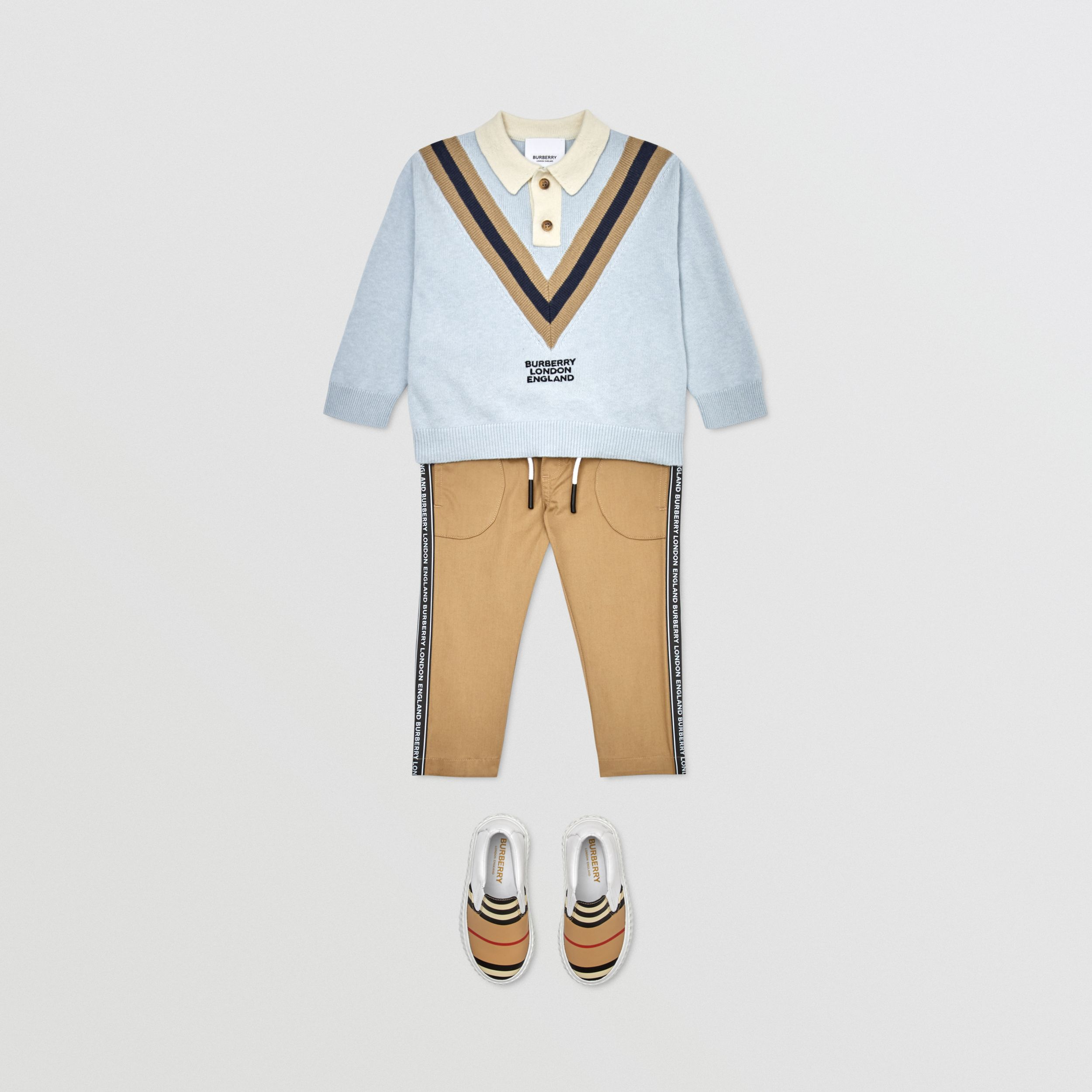 Long-sleeve Knit Cashmere Cotton Polo Shirt in Light Blue - Children | Burberry - 3