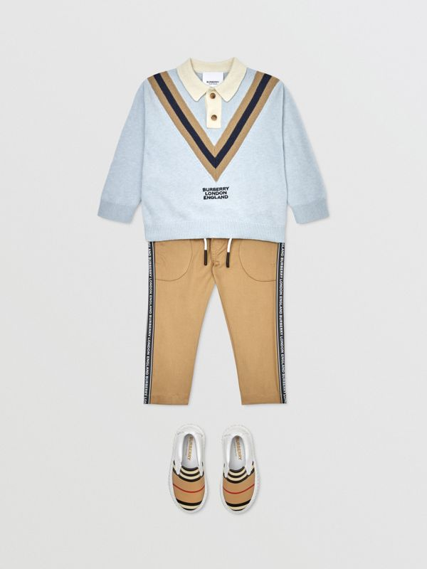 Long-sleeve Knit Cashmere Cotton Polo Shirt in Light Blue - Children | Burberry United States - cell image 2