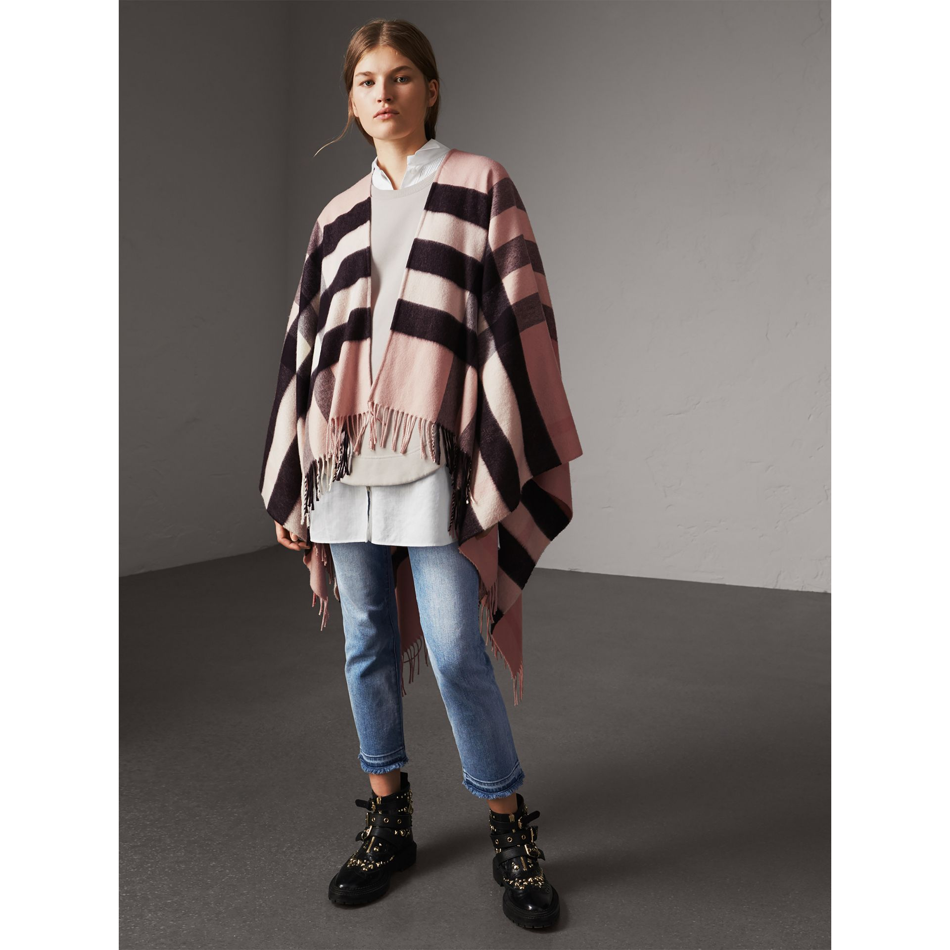 Check Cashmere and Wool Poncho in Ash Rose - Women | Burberry Australia - gallery image 1