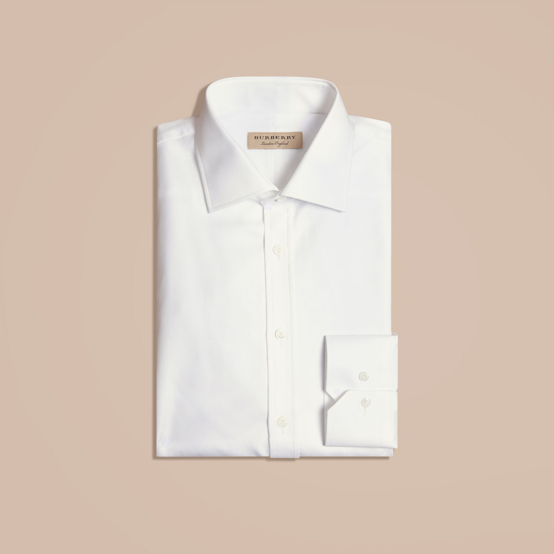 White Modern Fit Cotton Twill Shirt White - gallery image 5