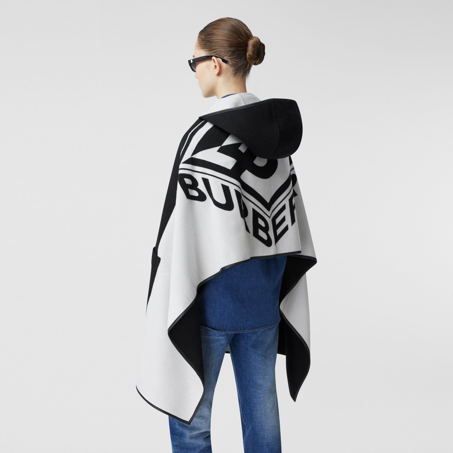 Logo Graphic Wool Cotton Jacquard Hooded Cape in Black/white | Burberry United States - gallery image 9