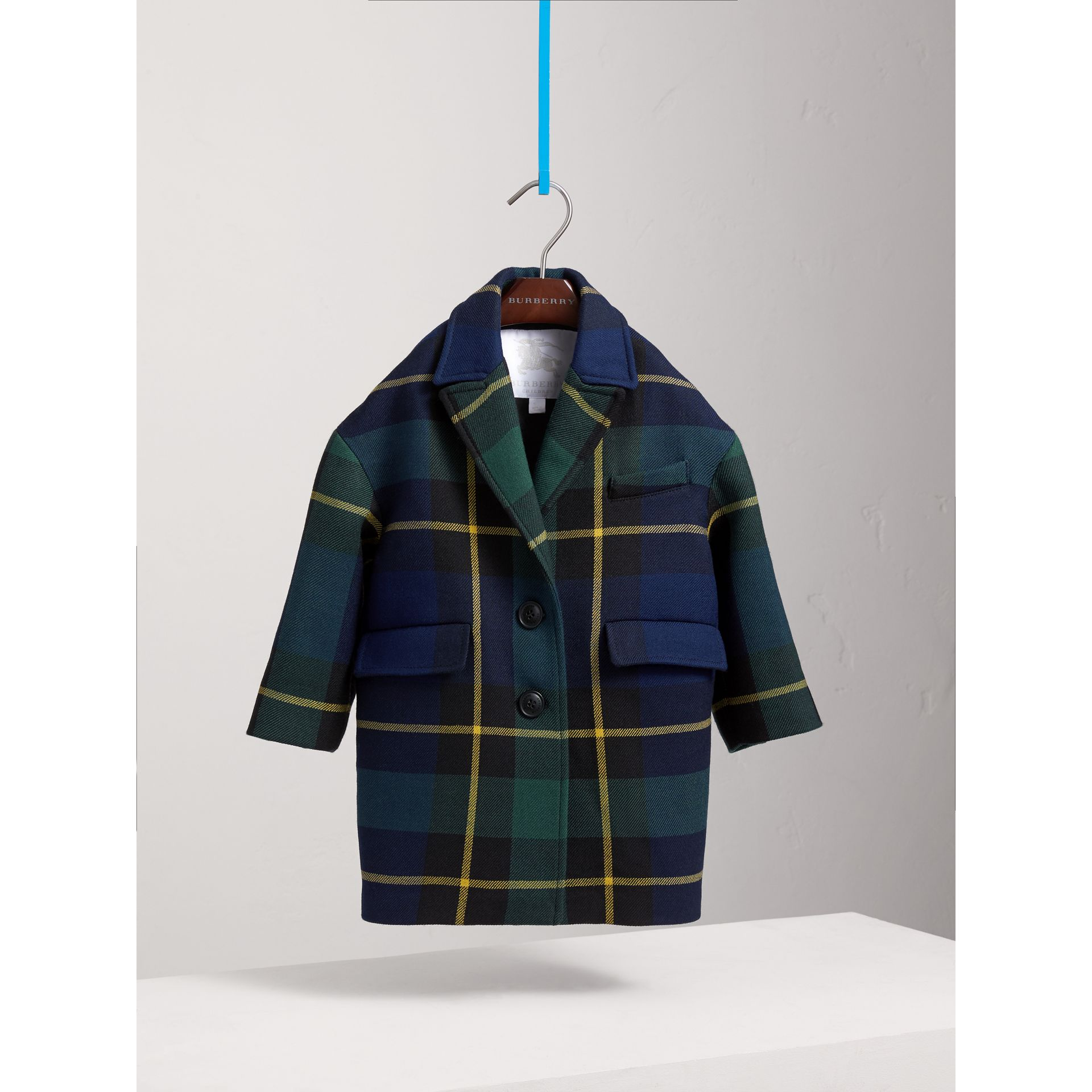 Tartan Wool Coat in Pine Green | Burberry United Kingdom - gallery image 0