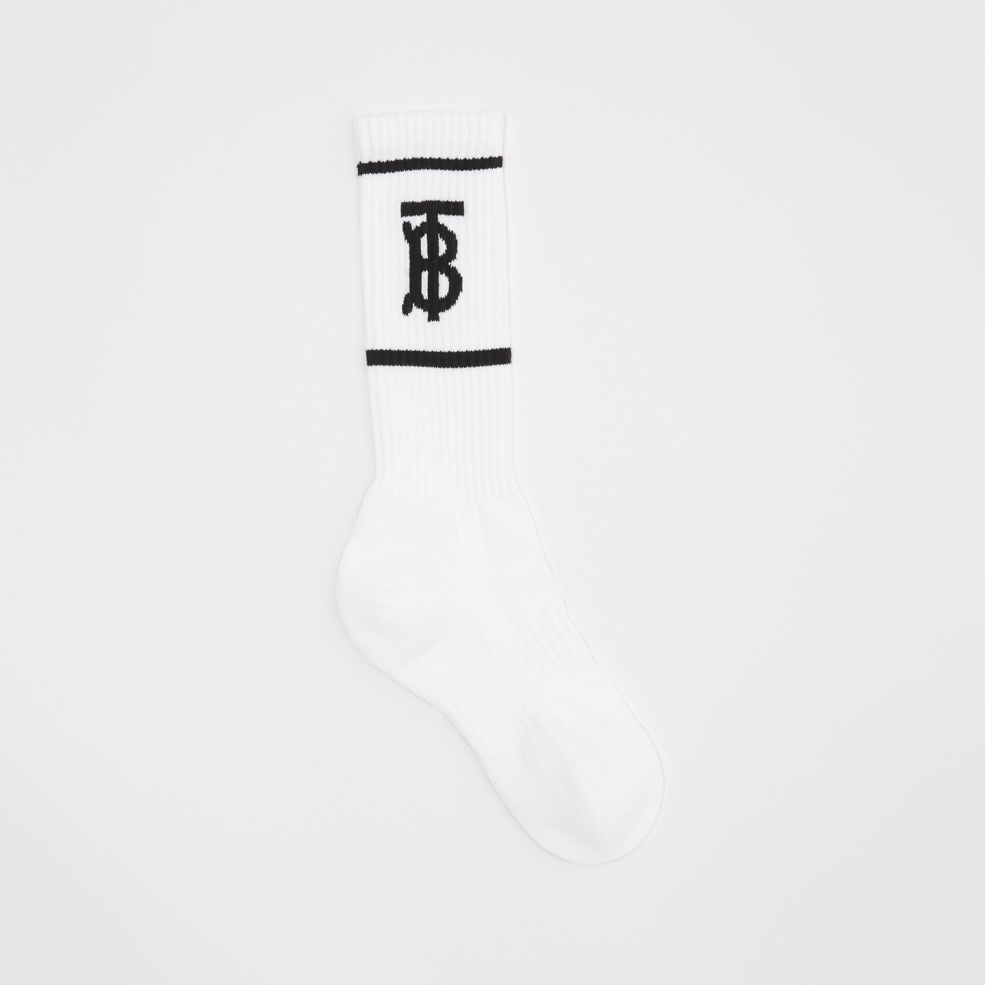 Monogram Motif Intarsia Socks in White | Burberry - gallery image 0