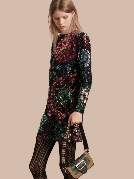 Hand-Embroidered Sequin Shift Dress