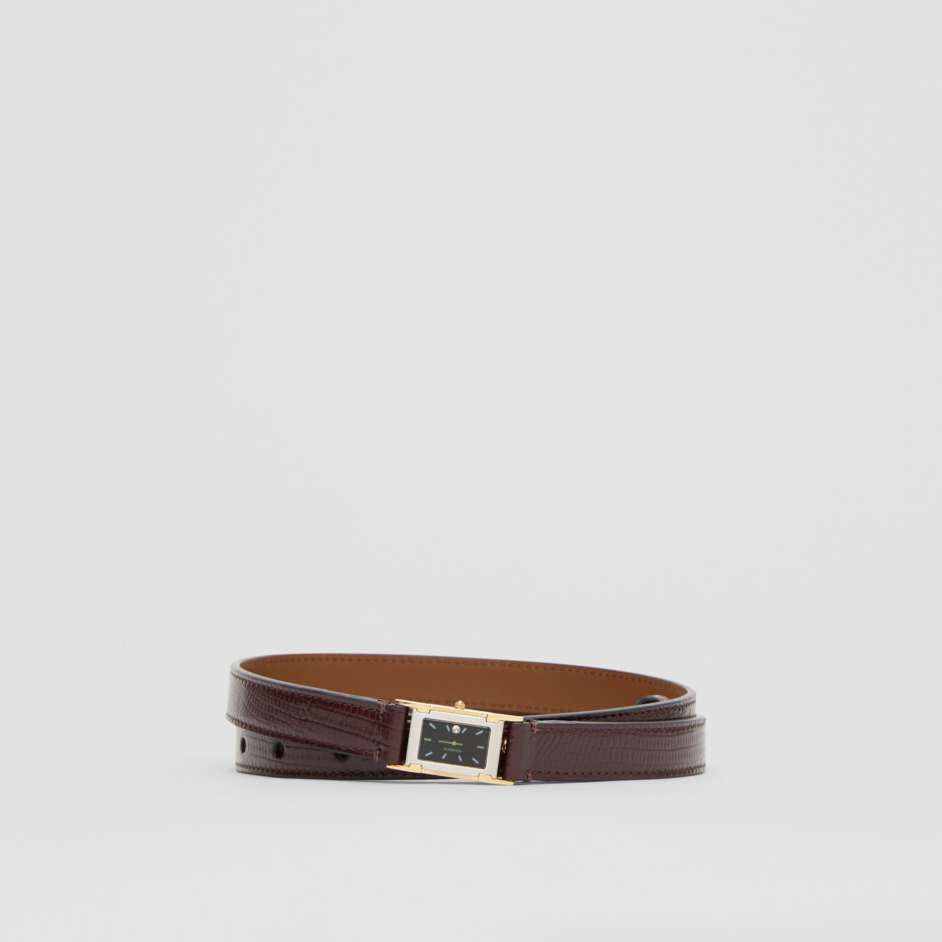 Faux Watch Detail Leather Belt in Tan - Women | Burberry - gallery image 0