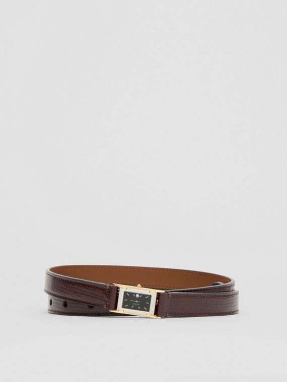 Faux Watch Detail Leather Belt in Tan