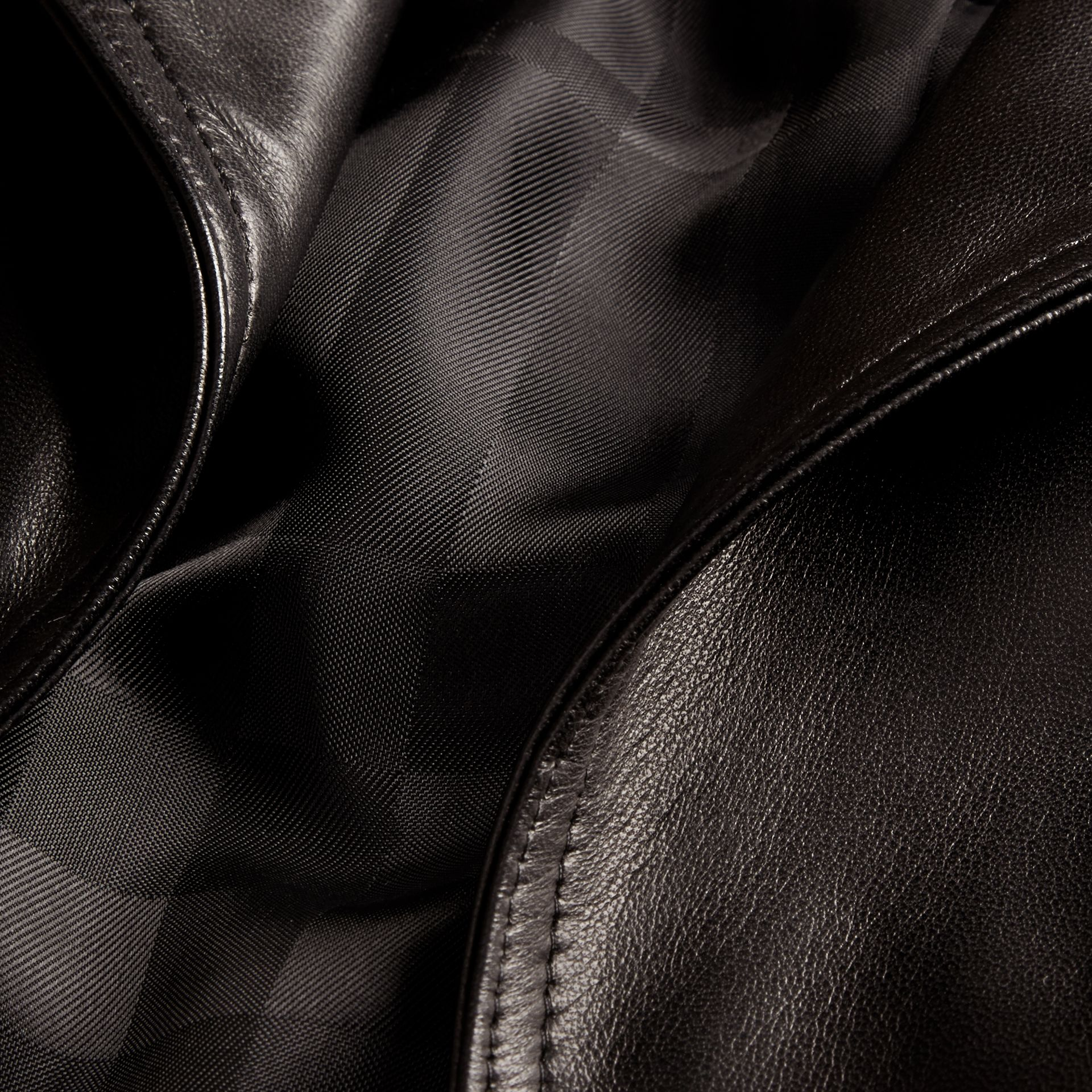 Black Lambksin Trench Jacket - gallery image 2