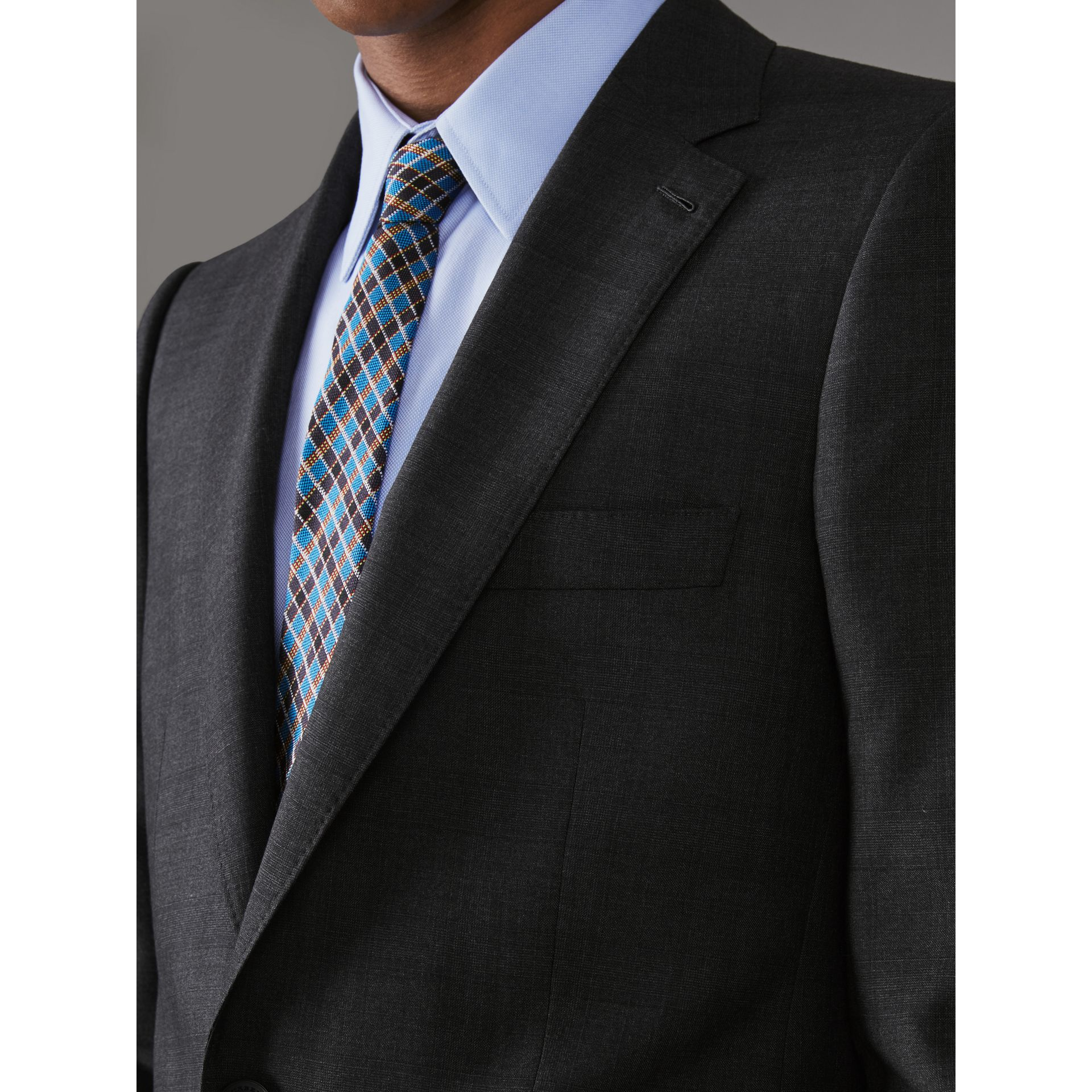 Slim Fit Prince of Wales Check Wool Silk Suit in Charcoal Melange - Men | Burberry - gallery image 4