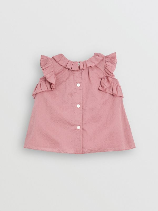 Ruffle Detail Cotton Dress with Bloomers in Light Elderberry - Children | Burberry - cell image 3