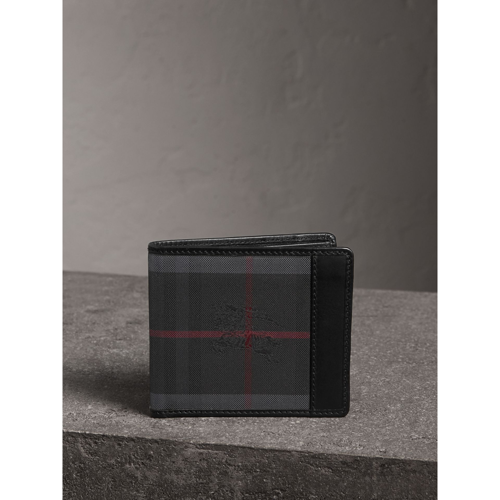 Horseferry Check International Bifold Wallet in Charcoal/black - Men | Burberry - gallery image 1
