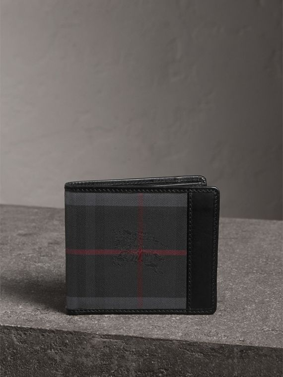 Horseferry Check International Bifold Wallet in Charcoal/black