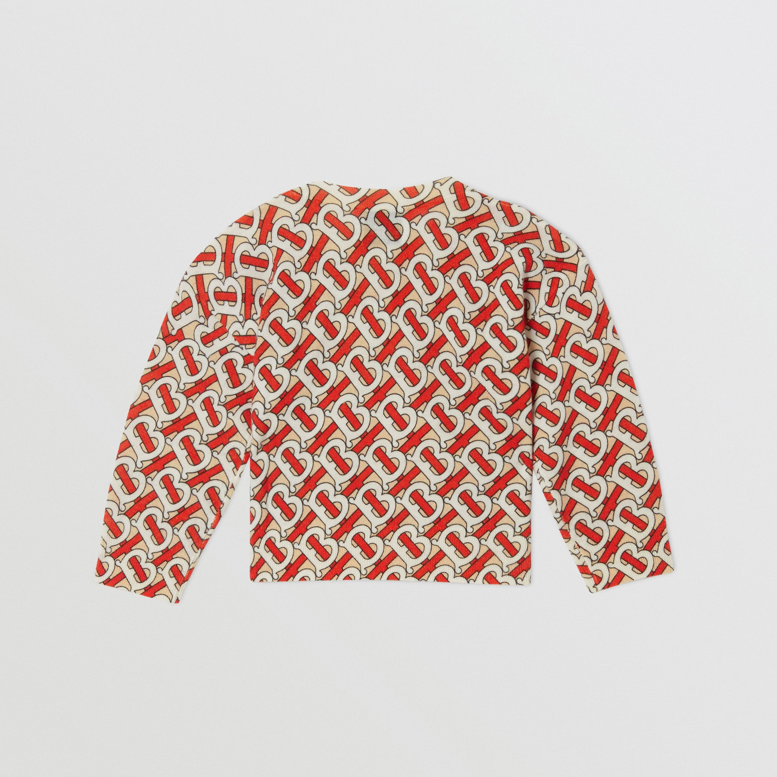 Monogram Print Merino Wool Sweater in Vermilion Red - Children | Burberry - 4
