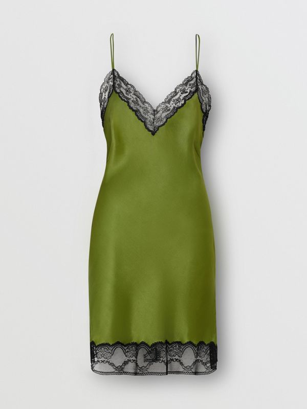 Lace Detail Silk Satin Slip Dress in Cedar Green - Women | Burberry - cell image 3