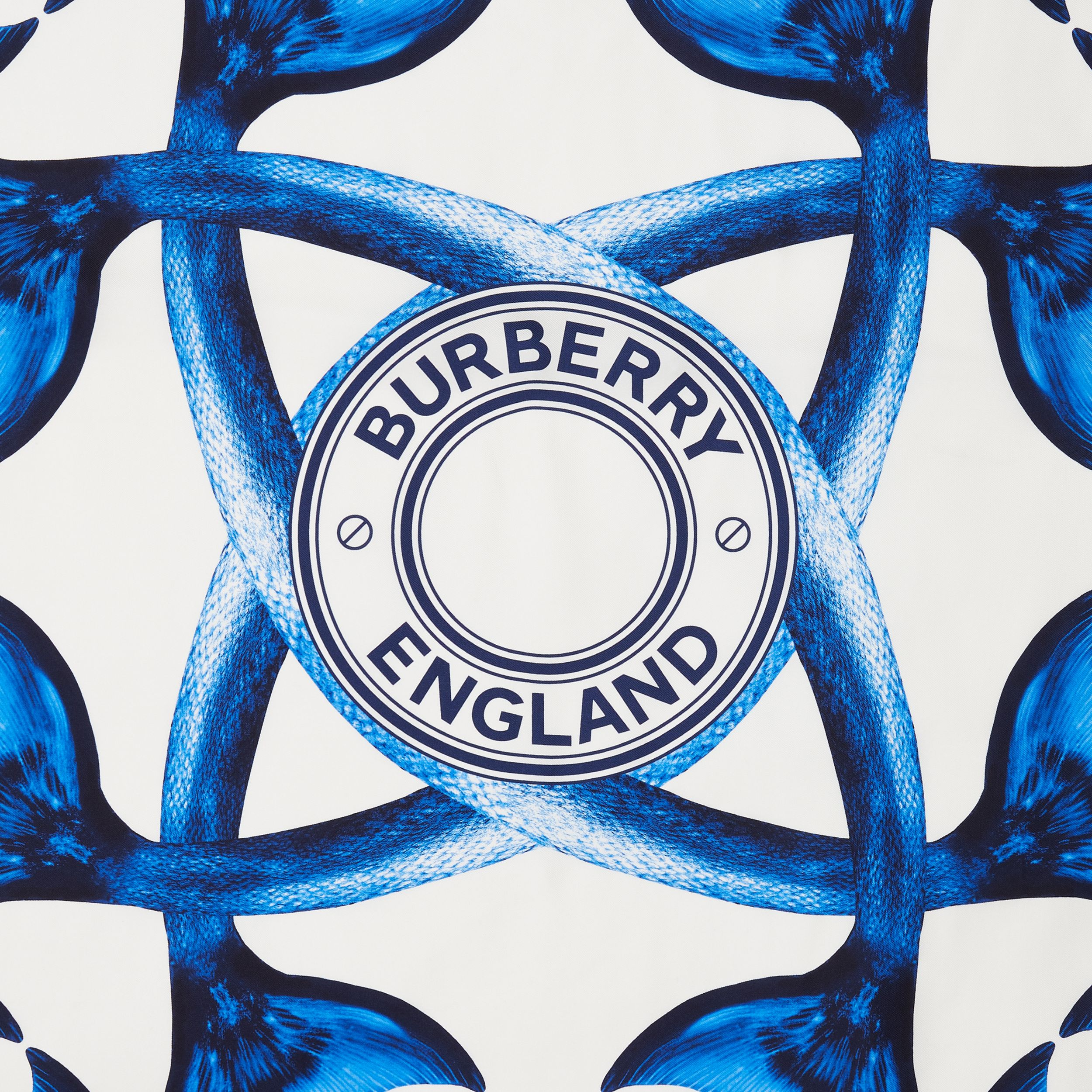 Mermaid Tail Print Silk Square Scarf in Ink Blue | Burberry - 2